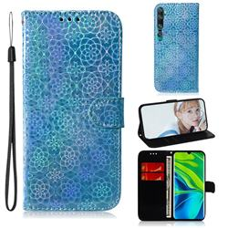 Laser Circle Shining Leather Wallet Phone Case for Xiaomi Mi Note 10 / Note 10 Pro / CC9 Pro - Blue