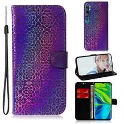 Laser Circle Shining Leather Wallet Phone Case for Xiaomi Mi Note 10 / Note 10 Pro / CC9 Pro - Purple