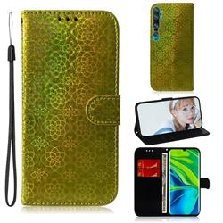 Laser Circle Shining Leather Wallet Phone Case for Xiaomi Mi Note 10 / Note 10 Pro / CC9 Pro - Golden