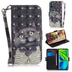 Cat Embrace 3D Painted Leather Wallet Phone Case for Xiaomi Mi Note 10 / Note 10 Pro / CC9 Pro