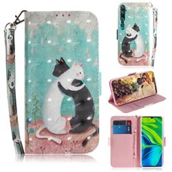 Black and White Cat 3D Painted Leather Wallet Phone Case for Xiaomi Mi Note 10 / Note 10 Pro / CC9 Pro