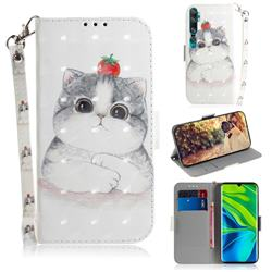 Cute Tomato Cat 3D Painted Leather Wallet Phone Case for Xiaomi Mi Note 10 / Note 10 Pro / CC9 Pro