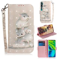Three Squirrels 3D Painted Leather Wallet Phone Case for Xiaomi Mi Note 10 / Note 10 Pro / CC9 Pro