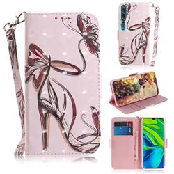 Butterfly High Heels 3D Painted Leather Wallet Phone Case for Xiaomi Mi Note 10 / Note 10 Pro / CC9 Pro