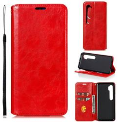 Retro Slim Magnetic Crazy Horse PU Leather Wallet Case for Xiaomi Mi Note 10 / Note 10 Pro / CC9 Pro - Red