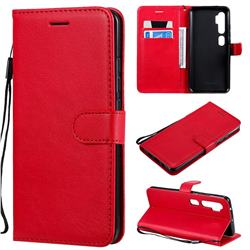 Retro Greek Classic Smooth PU Leather Wallet Phone Case for Xiaomi Mi Note 10 / Note 10 Pro / CC9 Pro - Red