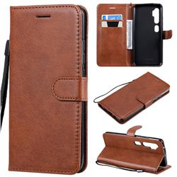 Retro Greek Classic Smooth PU Leather Wallet Phone Case for Xiaomi Mi Note 10 / Note 10 Pro / CC9 Pro - Brown