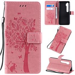 Embossing Butterfly Tree Leather Wallet Case for Xiaomi Mi Note 10 / Note 10 Pro / CC9 Pro - Pink