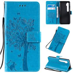 Embossing Butterfly Tree Leather Wallet Case for Xiaomi Mi Note 10 / Note 10 Pro / CC9 Pro - Blue