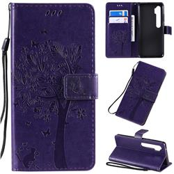 Embossing Butterfly Tree Leather Wallet Case for Xiaomi Mi Note 10 / Note 10 Pro / CC9 Pro - Purple