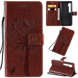 Embossing Butterfly Tree Leather Wallet Case for Xiaomi Mi Note 10 / Note 10 Pro / CC9 Pro - Coffee