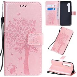 Embossing Butterfly Tree Leather Wallet Case for Xiaomi Mi Note 10 / Note 10 Pro / CC9 Pro - Rose Pink