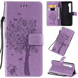Embossing Butterfly Tree Leather Wallet Case for Xiaomi Mi Note 10 / Note 10 Pro / CC9 Pro - Violet