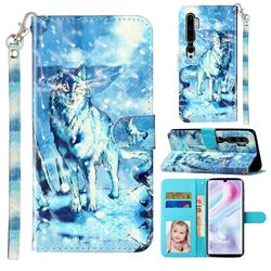 Snow Wolf 3D Leather Phone Holster Wallet Case for Xiaomi Mi Note 10 / Note 10 Pro / CC9 Pro