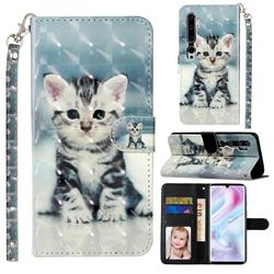 Kitten Cat 3D Leather Phone Holster Wallet Case for Xiaomi Mi Note 10 / Note 10 Pro / CC9 Pro