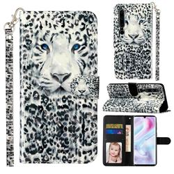 White Leopard 3D Leather Phone Holster Wallet Case for Xiaomi Mi Note 10 / Note 10 Pro / CC9 Pro