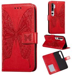 Intricate Embossing Vivid Butterfly Leather Wallet Case for Xiaomi Mi Note 10 / Note 10 Pro / CC9 Pro - Red