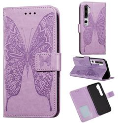 Intricate Embossing Vivid Butterfly Leather Wallet Case for Xiaomi Mi Note 10 / Note 10 Pro / CC9 Pro - Purple