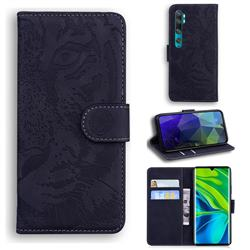 Intricate Embossing Tiger Face Leather Wallet Case for Xiaomi Mi Note 10 / Note 10 Pro / CC9 Pro - Black