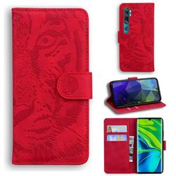 Intricate Embossing Tiger Face Leather Wallet Case for Xiaomi Mi Note 10 / Note 10 Pro / CC9 Pro - Red