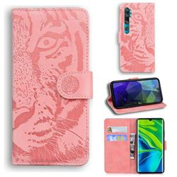 Intricate Embossing Tiger Face Leather Wallet Case for Xiaomi Mi Note 10 / Note 10 Pro / CC9 Pro - Pink