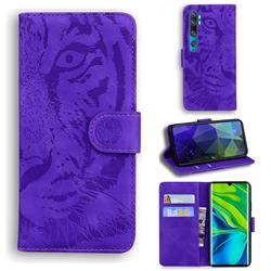 Intricate Embossing Tiger Face Leather Wallet Case for Xiaomi Mi Note 10 / Note 10 Pro / CC9 Pro - Purple