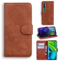 Retro Classic Skin Feel Leather Wallet Phone Case for Xiaomi Mi Note 10 / Note 10 Pro / CC9 Pro - Brown