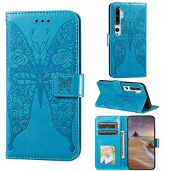 Intricate Embossing Rose Flower Butterfly Leather Wallet Case for Xiaomi Mi Note 10 / Note 10 Pro / CC9 Pro - Blue