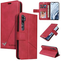 GQ.UTROBE Right Angle Silver Pendant Leather Wallet Phone Case for Xiaomi Mi Note 10 / Note 10 Pro / CC9 Pro - Red
