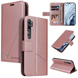 GQ.UTROBE Right Angle Silver Pendant Leather Wallet Phone Case for Xiaomi Mi Note 10 / Note 10 Pro / CC9 Pro - Rose Gold