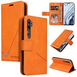 GQ.UTROBE Right Angle Silver Pendant Leather Wallet Phone Case for Xiaomi Mi Note 10 / Note 10 Pro / CC9 Pro - Orange