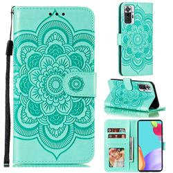Intricate Embossing Datura Solar Leather Wallet Case for Xiaomi Mi Note 10 / Note 10 Pro / CC9 Pro - Green