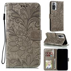 Intricate Embossing Lace Jasmine Flower Leather Wallet Case for Xiaomi Mi Note 10 / Note 10 Pro / CC9 Pro - Gray