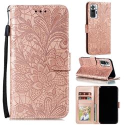 Intricate Embossing Lace Jasmine Flower Leather Wallet Case for Xiaomi Mi Note 10 / Note 10 Pro / CC9 Pro - Rose Gold