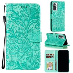 Intricate Embossing Lace Jasmine Flower Leather Wallet Case for Xiaomi Mi Note 10 / Note 10 Pro / CC9 Pro - Green