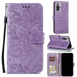 Intricate Embossing Lace Jasmine Flower Leather Wallet Case for Xiaomi Mi Note 10 / Note 10 Pro / CC9 Pro - Purple