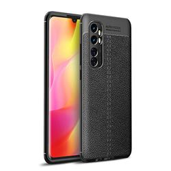 Luxury Auto Focus Litchi Texture Silicone TPU Back Cover for Xiaomi Mi Note 10 Lite - Black