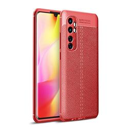 Luxury Auto Focus Litchi Texture Silicone TPU Back Cover for Xiaomi Mi Note 10 Lite - Red