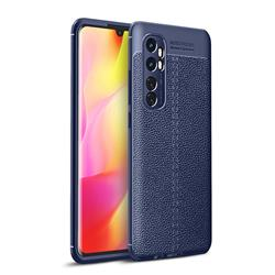 Luxury Auto Focus Litchi Texture Silicone TPU Back Cover for Xiaomi Mi Note 10 Lite - Dark Blue