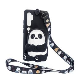 Cute Panda Neck Lanyard Zipper Wallet Silicone Case for Xiaomi Mi Note 10 Lite