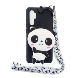 White Panda Neck Lanyard Zipper Wallet Silicone Case for Xiaomi Mi Note 10 Lite