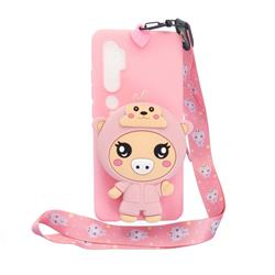 Pink Pig Neck Lanyard Zipper Wallet Silicone Case for Xiaomi Mi Note 10 Lite