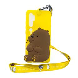 Yellow Bear Neck Lanyard Zipper Wallet Silicone Case for Xiaomi Mi Note 10 Lite
