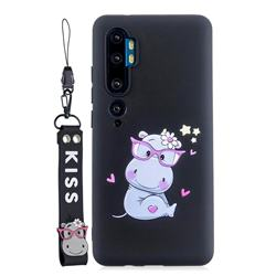 Black Flower Hippo Soft Kiss Candy Hand Strap Silicone Case for Xiaomi Mi Note 10 Lite