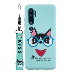 Green Glasses Dog Soft Kiss Candy Hand Strap Silicone Case for Xiaomi Mi Note 10 Lite