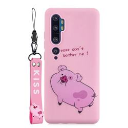 Pink Cute Pig Soft Kiss Candy Hand Strap Silicone Case for Xiaomi Mi Note 10 Lite