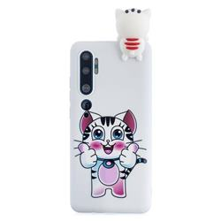 Cute Pink Kitten Soft 3D Climbing Doll Soft Case for Xiaomi Mi Note 10 Lite