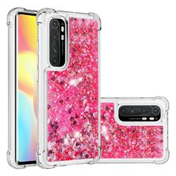 Dynamic Liquid Glitter Sand Quicksand TPU Case for Xiaomi Mi Note 10 Lite - Pink Love Heart