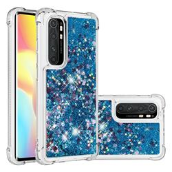 Dynamic Liquid Glitter Sand Quicksand TPU Case for Xiaomi Mi Note 10 Lite - Blue Love Heart