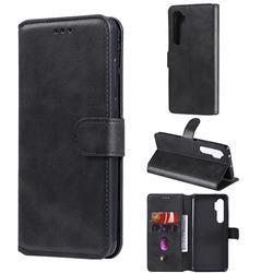Retro Calf Matte Leather Wallet Phone Case for Xiaomi Mi Note 10 Lite - Black
